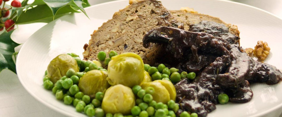 Herb and chestnut log with mushroom gravy