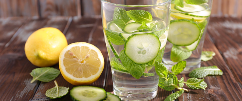 Lemon, Cucumber & Mint Infused Water