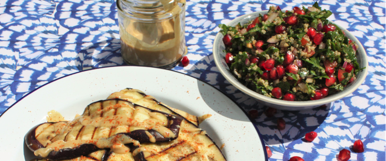 Griddled Aubergine with Quinoa Tabbouleh