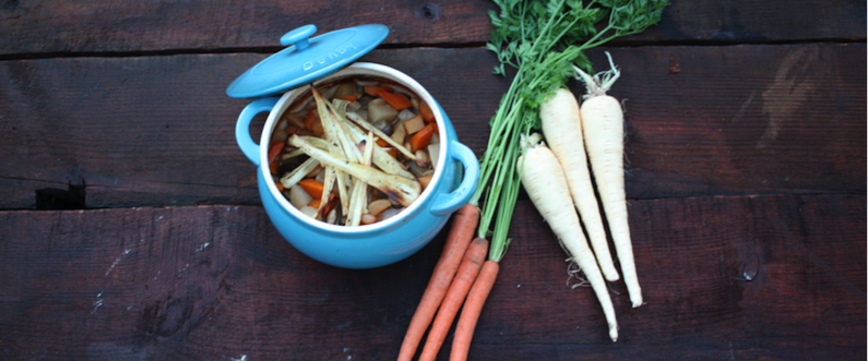 Hearty Vegetable and Butterbean Stew with Parsnip Crisps